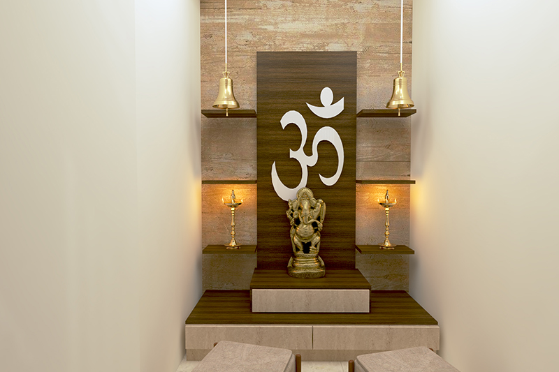 Vastu tips for pooja room with hanging bells and sacred items stored in a proper manner in pooja room vastu