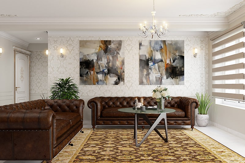Victoria living room wallpaper design with victorian patterns to give classic and vintage look to your living room