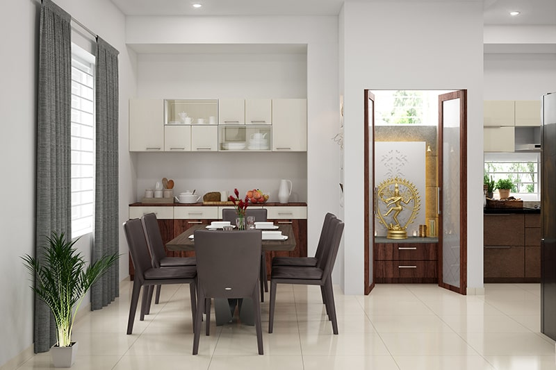 Wall cabinets for small dining rooms with mix of closed cabinets and glass cabinets