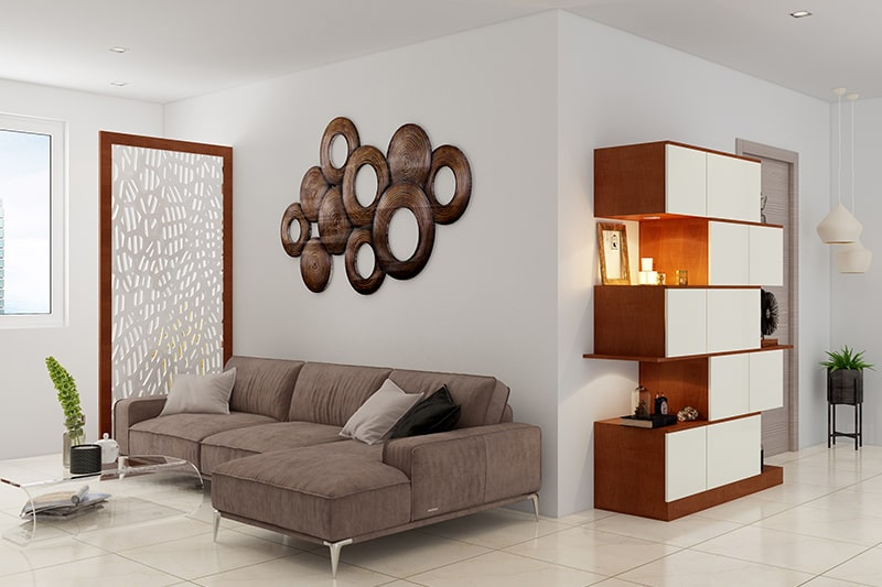 Large wall decor ideas for living room with a brass artifact or sculpture as a living room wall decor