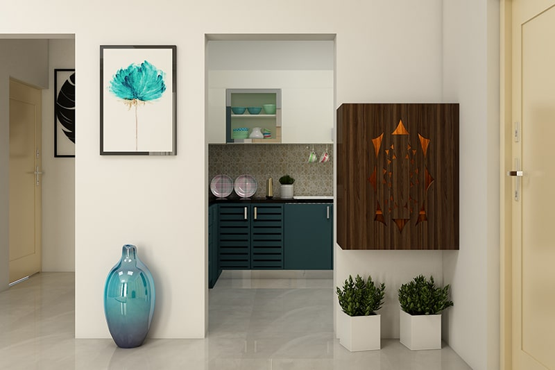 Wall mounted pooja unit for small spaces with dark wooden laminates to make a traditional pooja room designs in wood