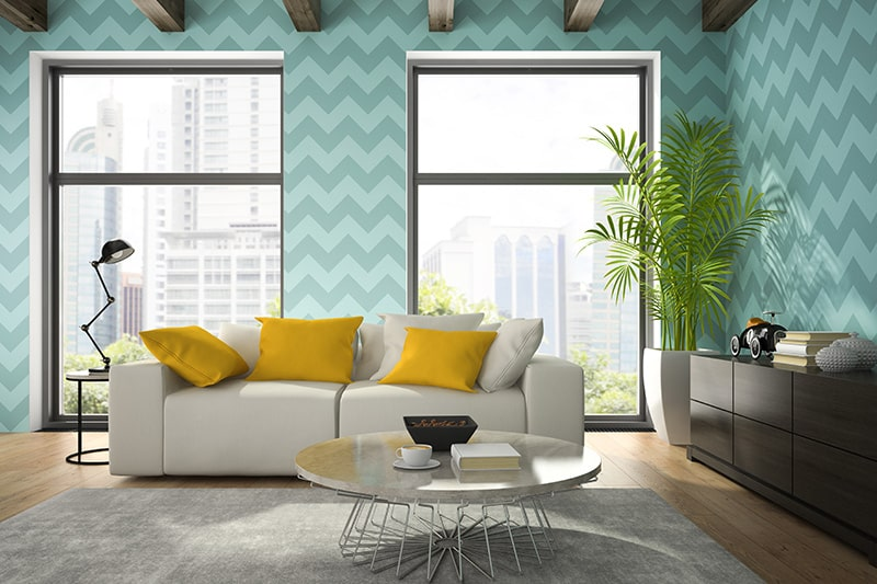 Wallpaper designs for living room with bright colour shades of blue, yellow, orange or red