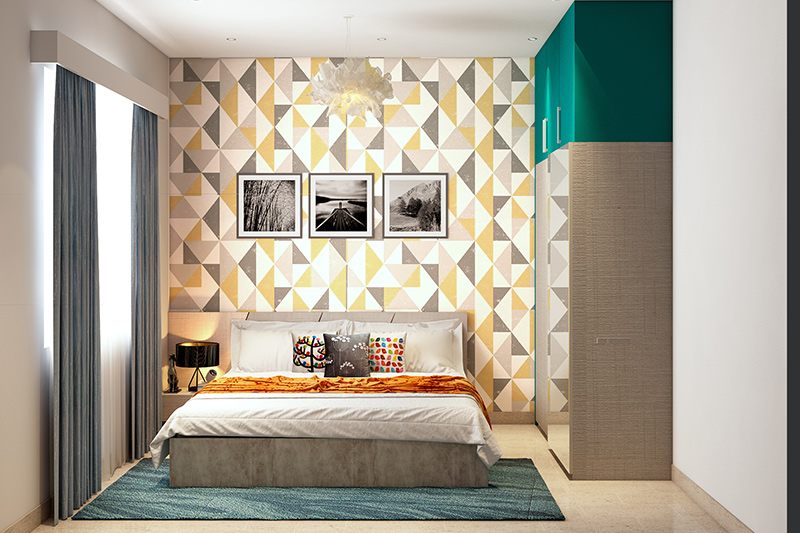 Wallpaper for bedroom walls for your home with a geometric patterned wallpaper  design