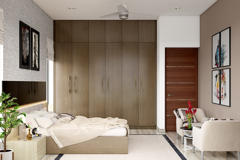 Wooden almirah designs for bedrooms gives a modern classic look by using different patterns and textures