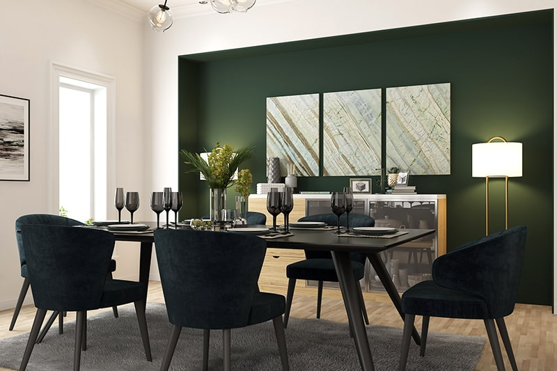 Modern wooden dining tables with upholstered chairs gives comfort