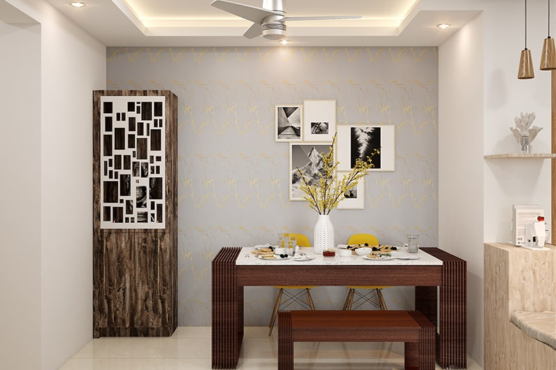 Wooden pooja room cabinet design with a compact corner cabinet works best as pooja unit