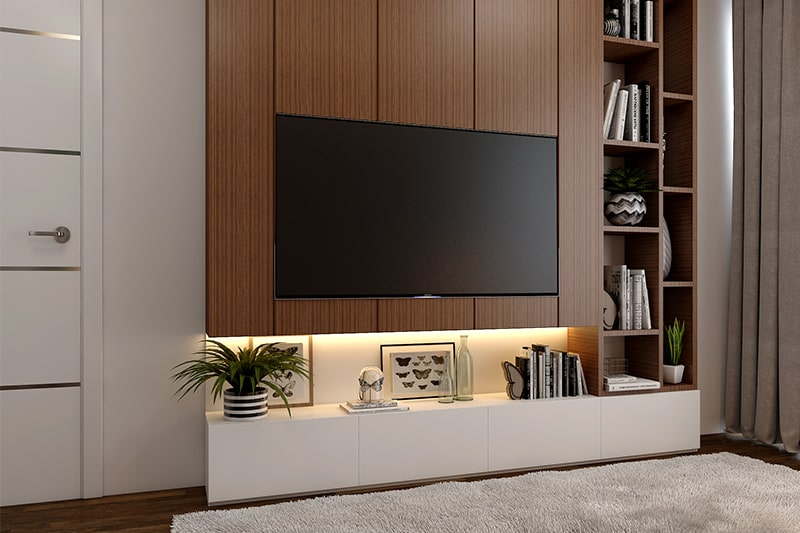 A wooden tv showcase design with wooden cabinets, shelves, drawers and backdrops