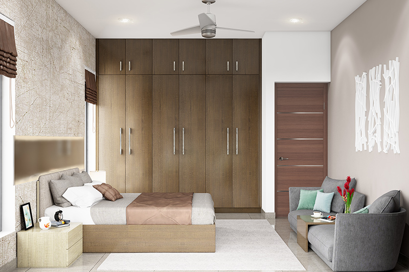 Cupboard design for bedroom where fine finishes and earthy coloured doors go well with the decor for bedroom cupboard design images
