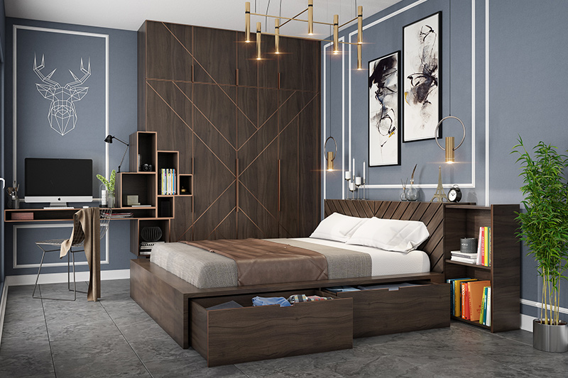 Bedroom study area designs for your home where the modern artwork above the desk immediately draws ones attention to study in bedroom