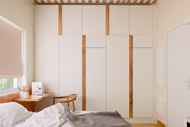 Built in designer wardrobe for a space-saving, modern and functional bedroom interiors