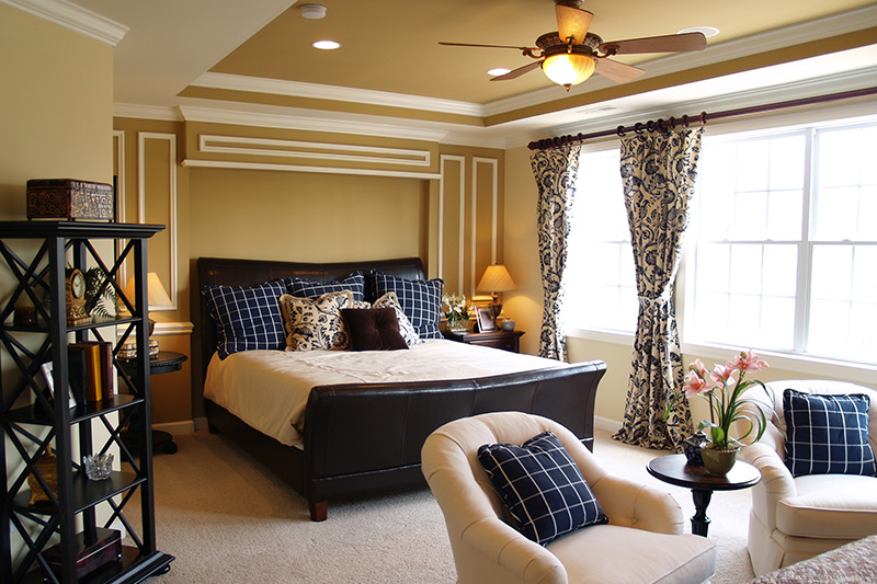 Ceiling colour design with matching walls and bedroom interior