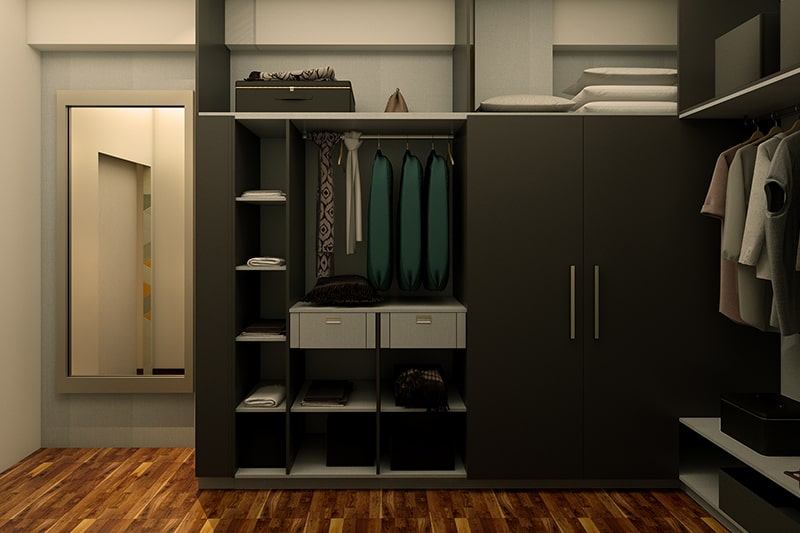 Customised wardrobe door design with black and white corner wardrobe with shelves in your bedroom