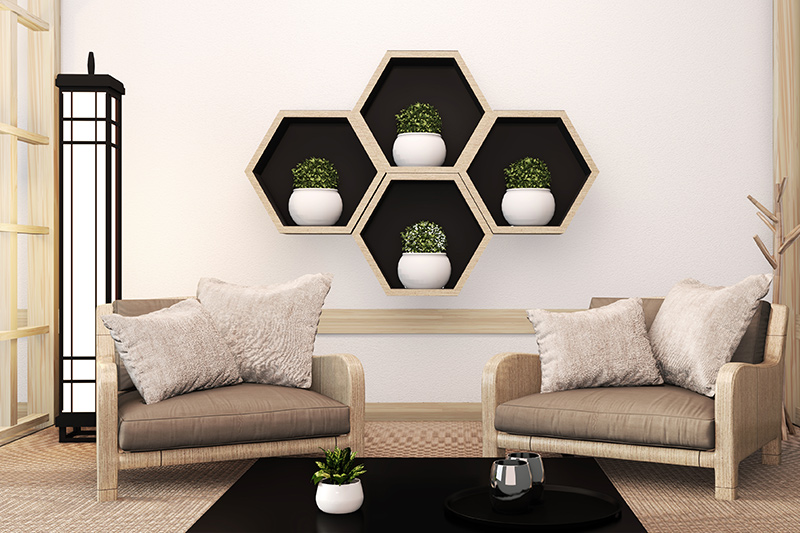 Decorative wall shelves for living room where this type of shelf design adds a striking feature to spaces for living room shelf decor