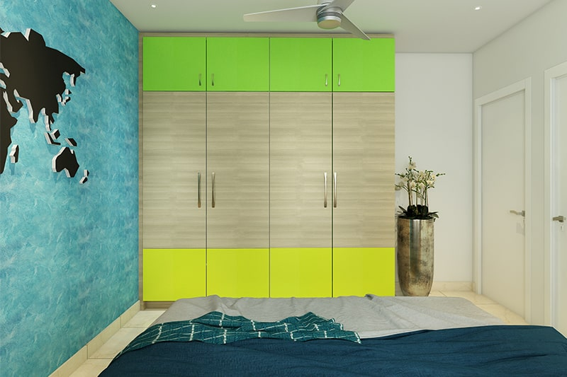 Dual colour kids wardrobe door design with a water-themed accent wall accentuates to your bedroom wardrobe door design
