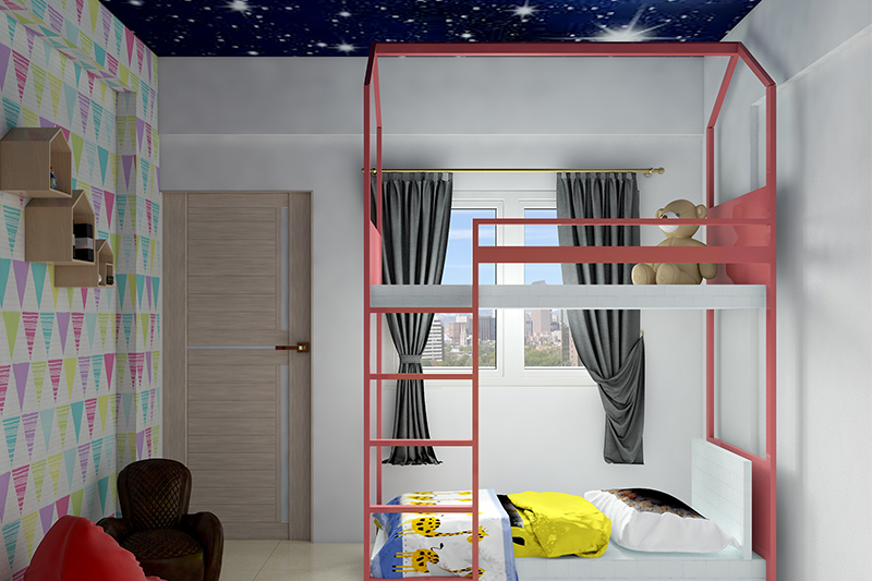 False ceiling colour combination complete with stars in deep velvety blue for your home