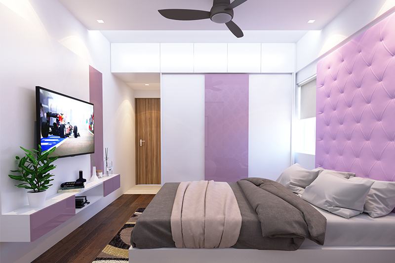 False ceiling colour with different shades of mauve on the ceiling, wardrobe doors, and headboard