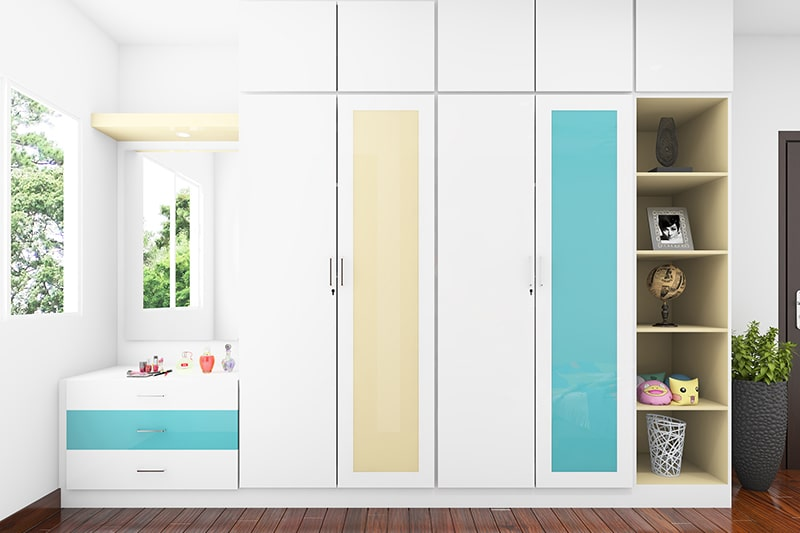 Designer fiber panelled wardrobe by picking from a wide range of textures, finishes and colours