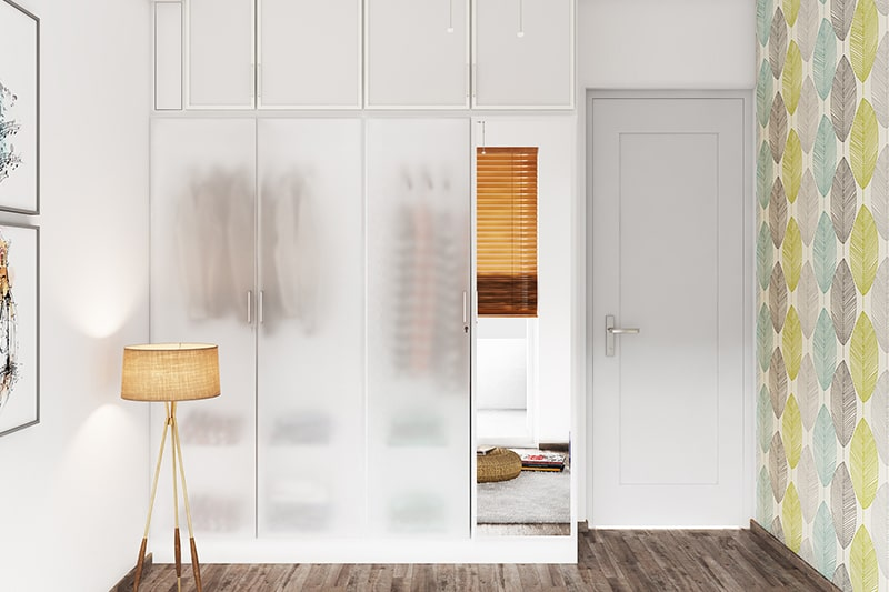 Frosted glass wardrobe door design gives a classic and elegant look to your wardrobe door design