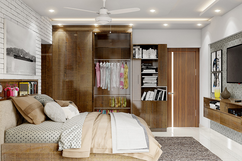 Hardwood wardrobe door design gives storage space for clothes and side-shelves gives personalised mini-library