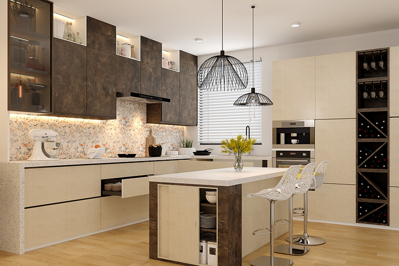 Let us tell you how to design a island kitchen layout with free standing cabinets for extra store