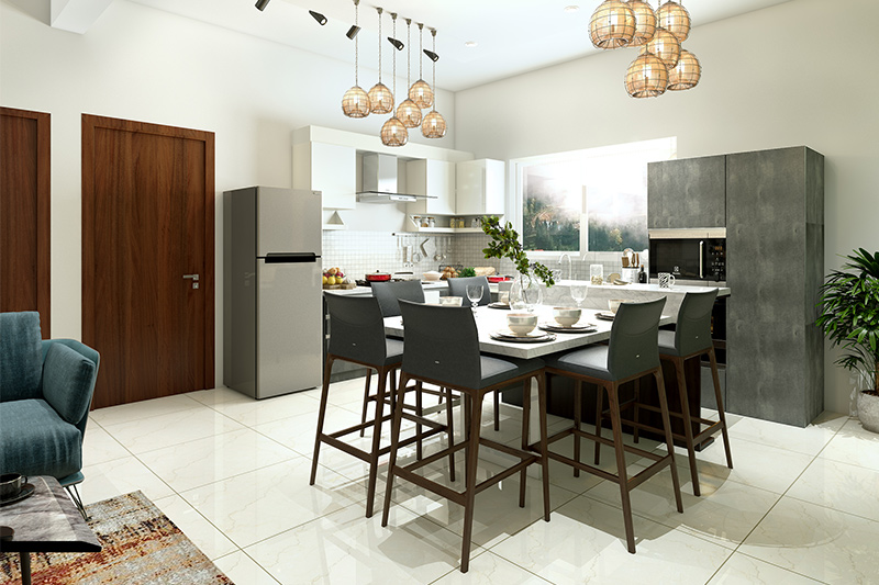 Kitchen & dining that combines the kitchen with dining room with full of possibilities