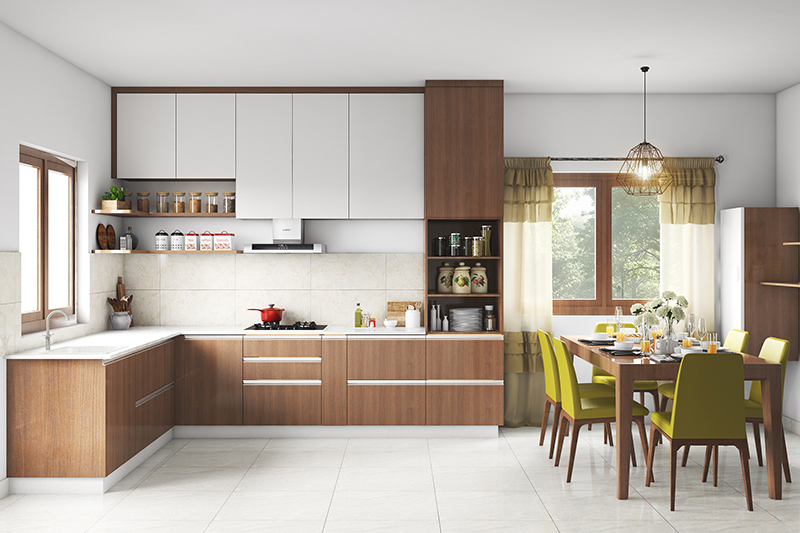 Kitchen and dining room where seamlessly integrated kitchen and dining room design are hallmarks of this room