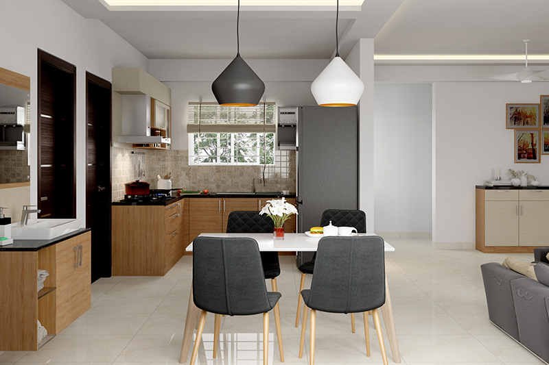 Kitchen dining room combo design ideas where kitchen is set in a corner and the dining table placed across the natural passageway