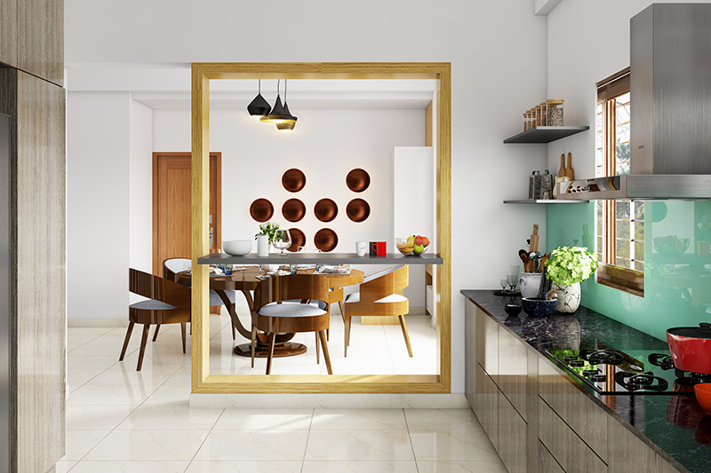 Kitchen dining room where an open kitchen with dining area affords you a great ease of movement