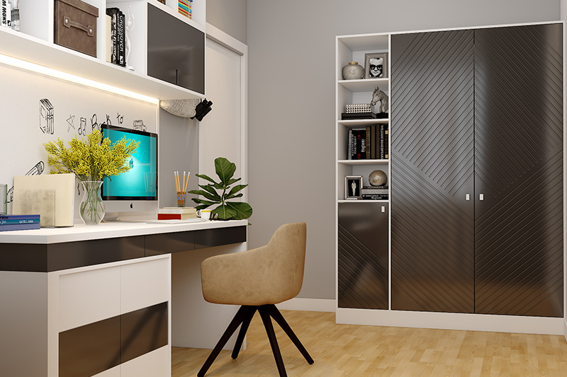 Wardrobe gloss laminate designs with a creative mix of black and white