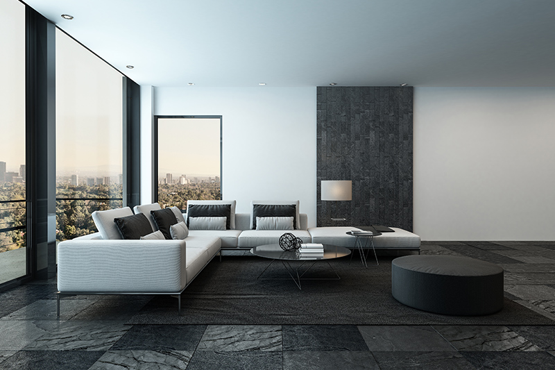 Living room tiles design where tiles as flooring give an uninterrupted look to living rooms
