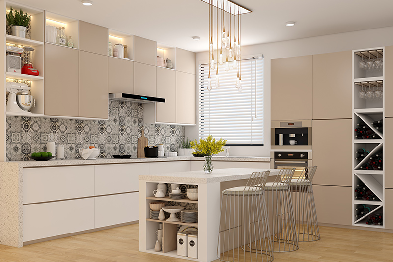 Modern kitchen design with unique breakfast chairs and speckled granite counter tops for a modern style kitchen