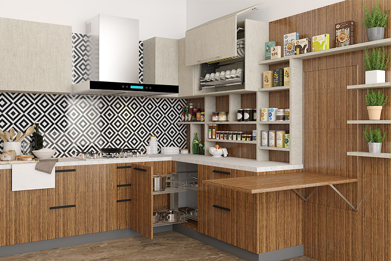 Modern kitchen ideas with bold backsplash, grainy wood-look laminate cabinets for new modern kitchen