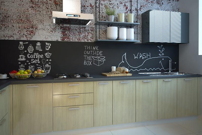 Modern kitchen photos where kitchen has fun accents like the chalkboard backsplash