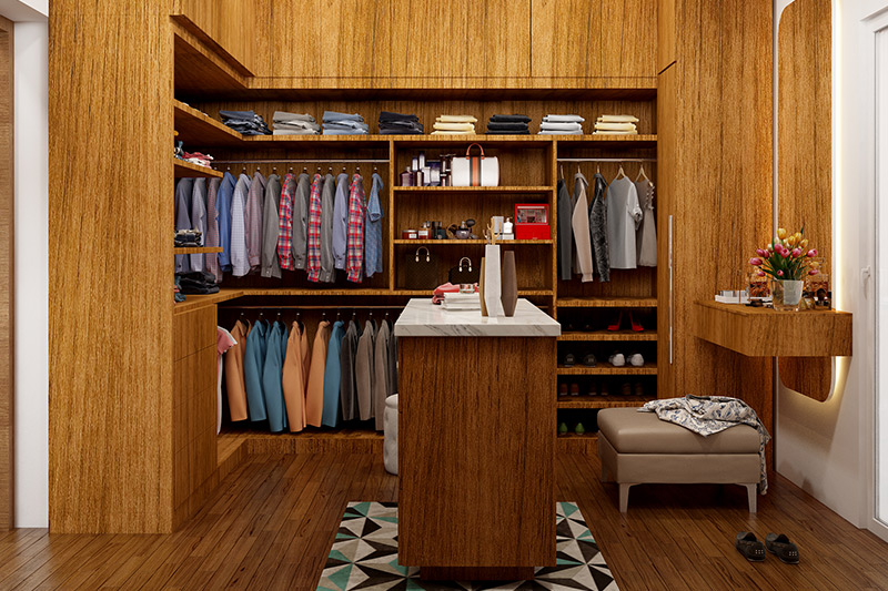 Open door wooden wardrobe design look more personalised, aesthetically and cool