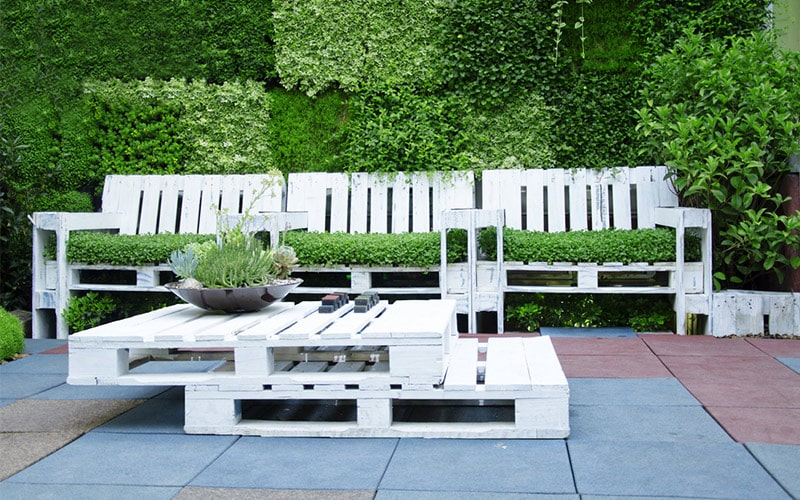 Outdoor balcony furniture with natural, earthy colours and frames