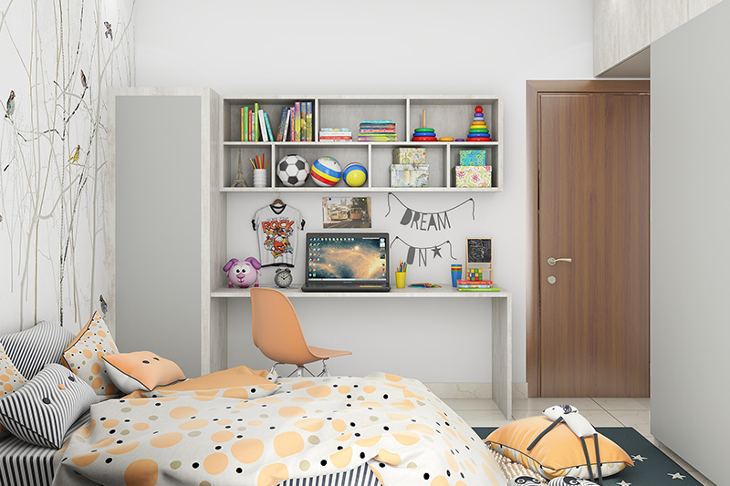 Single door wardrobe design with multiple shelves gives you enough storage for your kid's clothes, shoes and other items