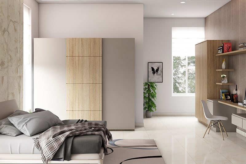 Sliding designer wardrobes for small bedrooms and apartments is a space saving storage designer wardrobe ideas