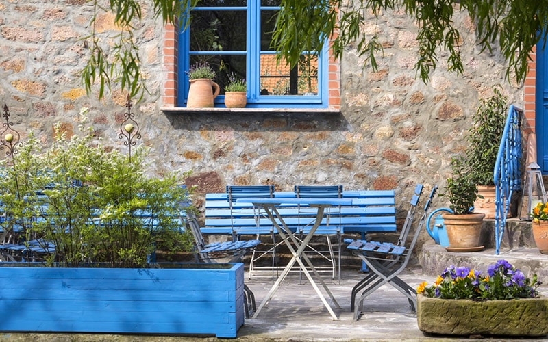 Outdoor balcony furniture design channeling with blues