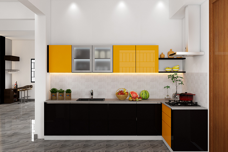 Small kitchen pictures design where  black and yellow kitchen is bold and striking for modern kitchen decor