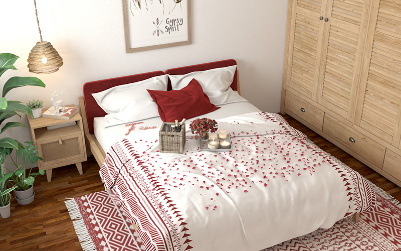 Valentine party decorations where sweet, romantic details on the bed make it an ideal set up for two for valentines day dance decorations