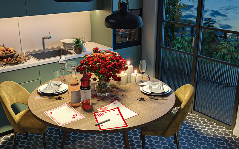 Valentine room decoration for your home where it is a cute little table for two in the truest sense for valentines day decoration