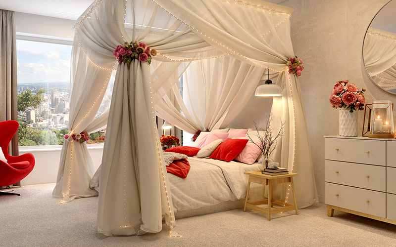 Valentines day room decoration ideas for cascading down the four posters with red roses as embellishments for valentines home decor