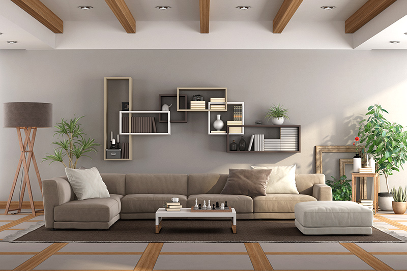 Wall shelves for living room is a great choice if you want a rustic vibe with a bookshelf design for living room