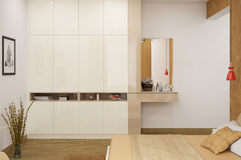 Wardrobe design with dressing table for your home
