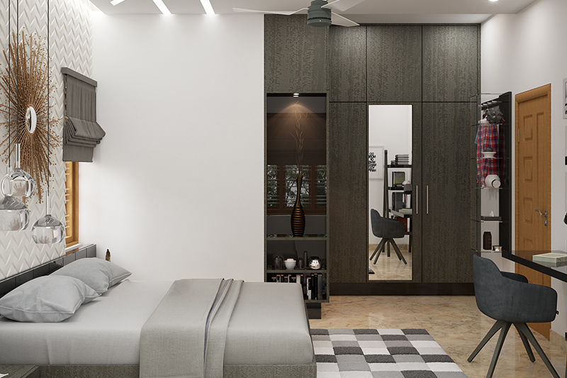 Wardrobe with mirror design where you can incorporate a mirror on one of its doors of the dressing mirror