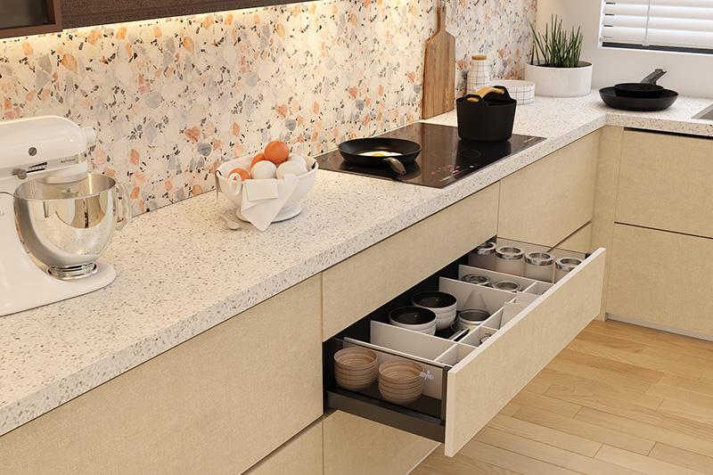 White quartz countertops where manufacturing ensures uniformity in the slabs