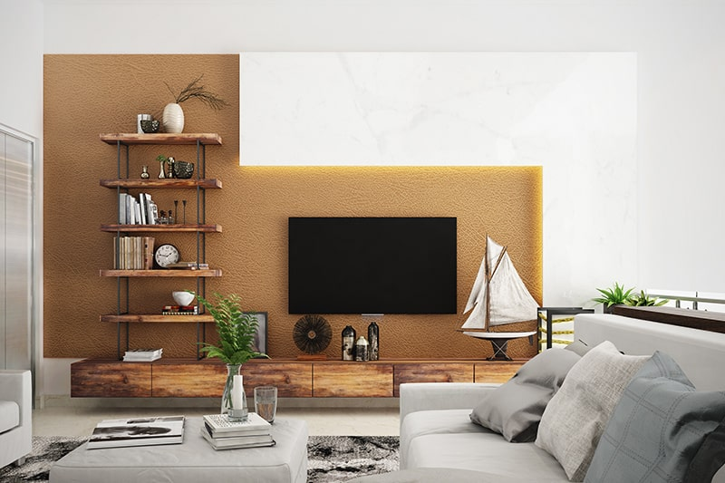 Wooden showcase designs for hall to make a sleek look to your showcase design in hall