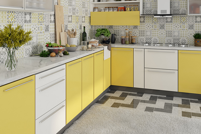Home trends, bring bright colourful cabinets, gadgets, and appliances to make a big splash in kitchens