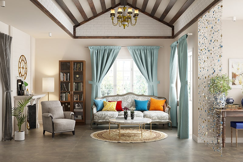 90s boho style of decor with doorway curtains for your home interiors