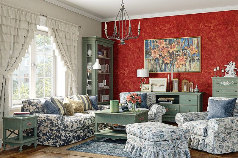 90s decor trends with dresses to slings, couches to tables and frills for living room designs